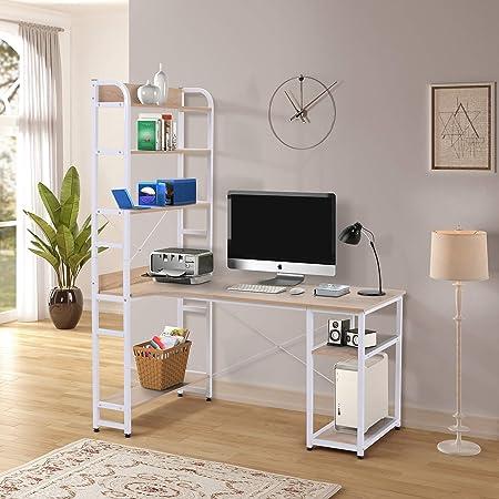 Modern Luxe L-Shaped Desk Corner with Bookshelf 2-Pieces Computer PC Table Set Home Office Desk with Shelves Oak w Shelf