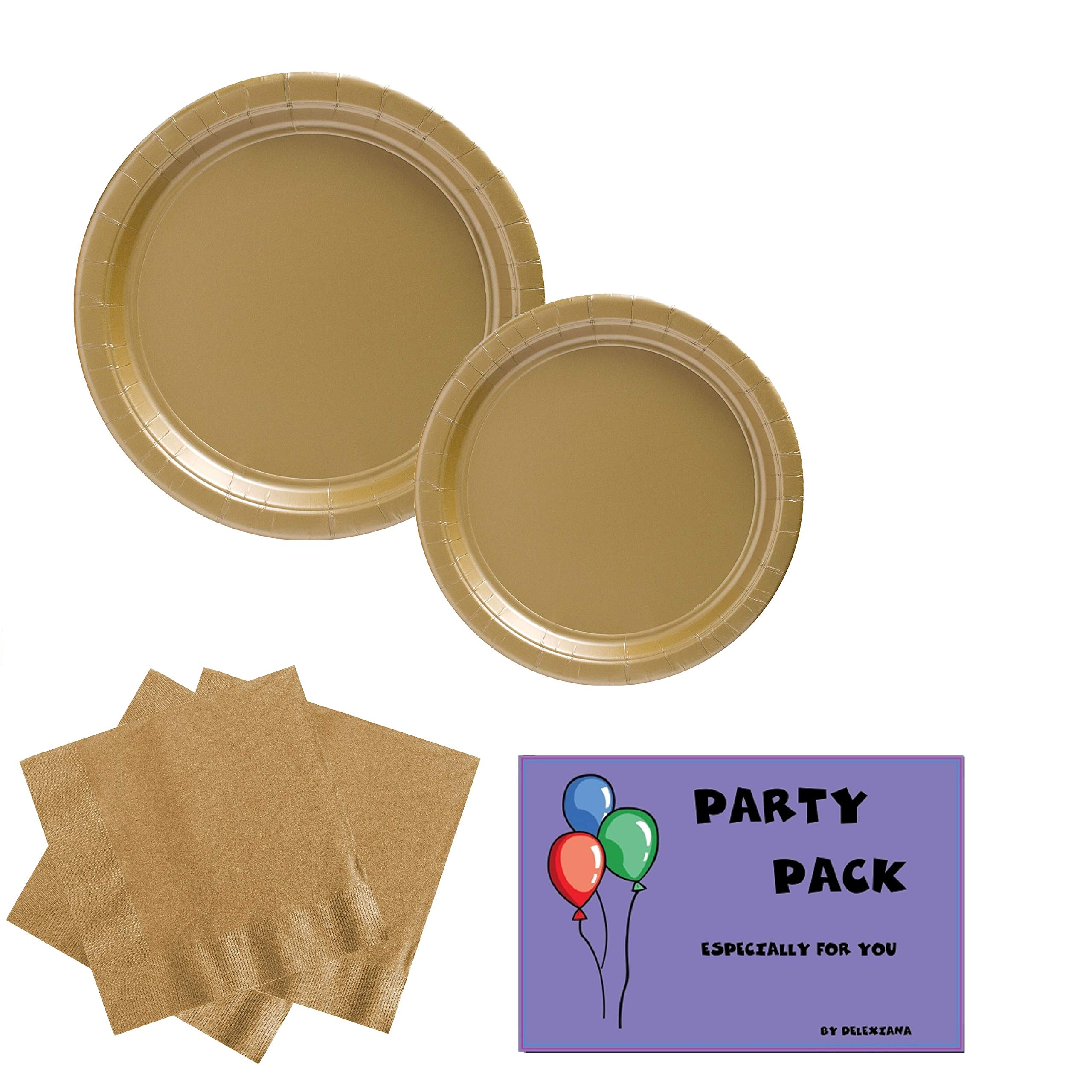 Amscan Big Party Supplies Pack Solid Gold Color Bundle set for 50 Guests 9'' Dinner Paper Plates, 7'' Luncheon Paper Plates and, 2-ply Luncheon Napkins with a Complementary Recipe Card
