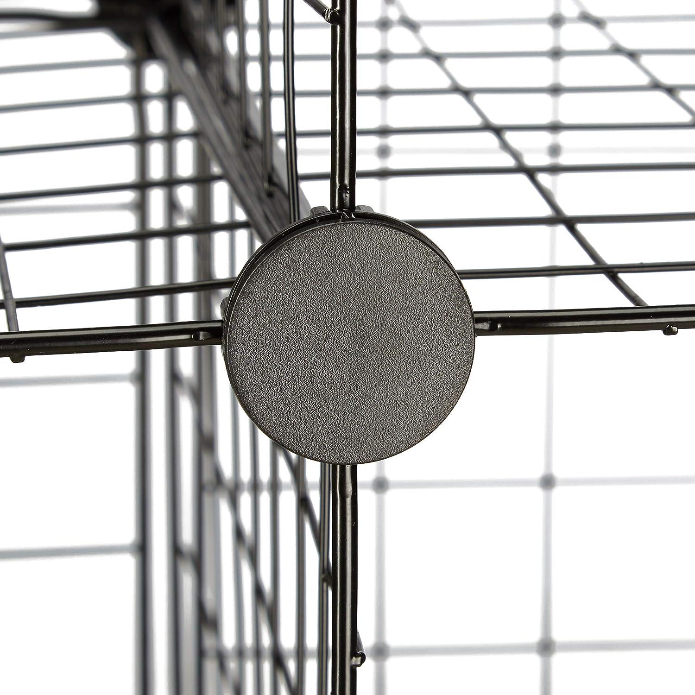 Black Relaxdays Modular Grid Shelf Open Cube Rack Metal 9 Compartments 30 x 30 cm DIY Shelving System