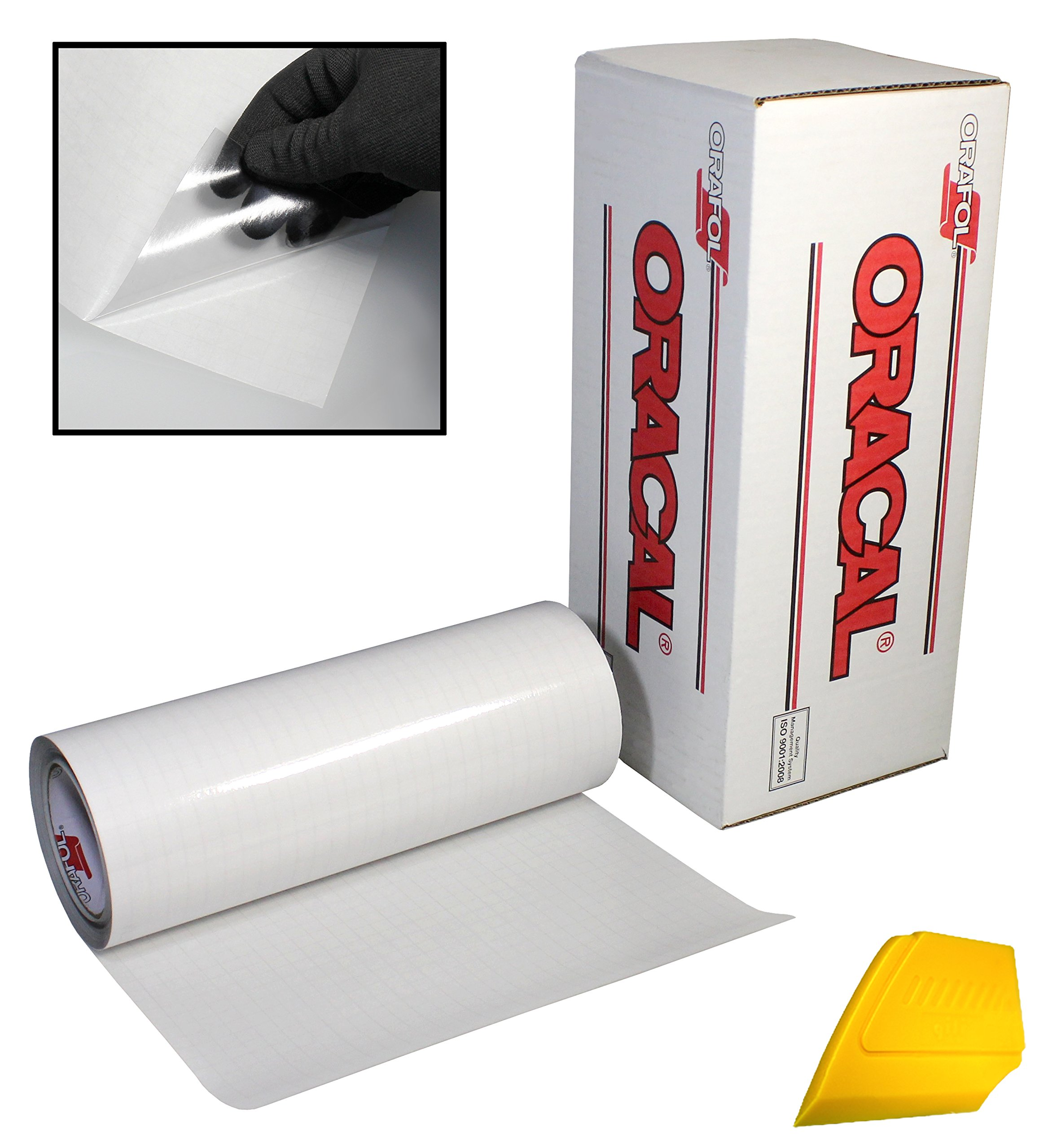 ORACAL Transparent Transfer Paper Tape Roll w/Hard Yellow Detailer Squeegee (25ft x 12'')