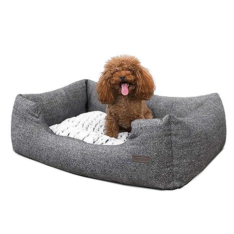 FEANDREA Cómoda Casa para Mascotas, Cama para Perros Perrera de Tamaño S, Dimensiones externas : 60 x 50 x 22 cm PGW22G