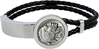 product image for Buffalo Nickel Stainless Steel and Leather Men's Coin Bracelet
