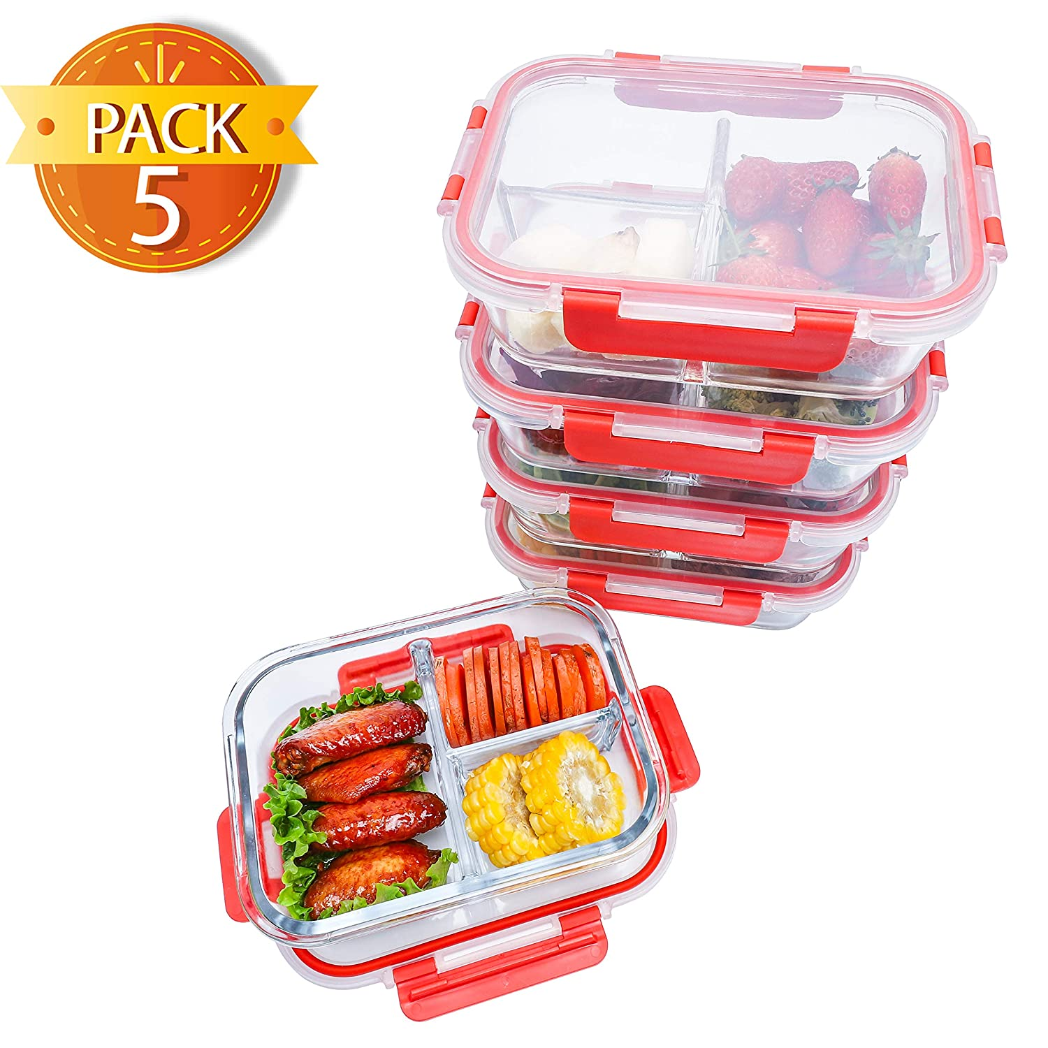 BlueHills Premium Glass Meal Prep Containers with Red Snap Locking Lids Glass Food Containers BPA-Free Microwave Oven Freezer Dishwasher Safe (4.5 Cups, 36 Oz. (G003 Three Compartments)
