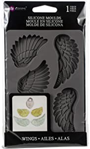 "Prima Marketing Finnabair Decor Moulds 5""X8""-Wing & Locket"