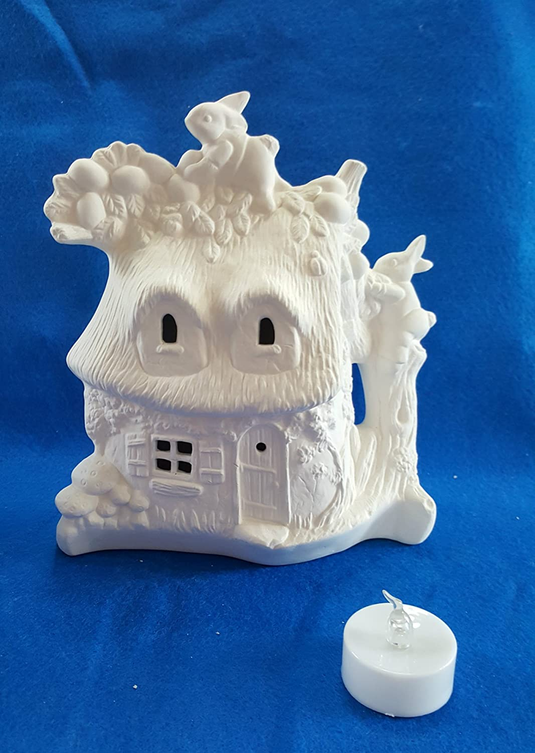 Easter Bunny Rabbit Thatched Roof Cottage KIT windows cut out and light unpainted ceramic bisque ready to be painted