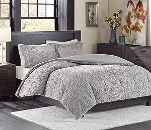 Madison Park Bismarck King Size Bed Comforter Set - Grey, Embroidered Medallion – 3 Pieces Bedding Sets – Faux Fur Plush Bedroom Comforters