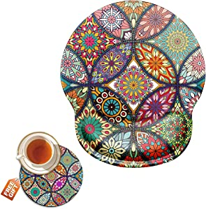 Mouse Pad with Wrist Support Gel Ergonomic Gaming Mousepad with Wrist Rest for Laptop Mandala Floral Computer Home Office Working Mouse Mat + A Cute Coffee Pad