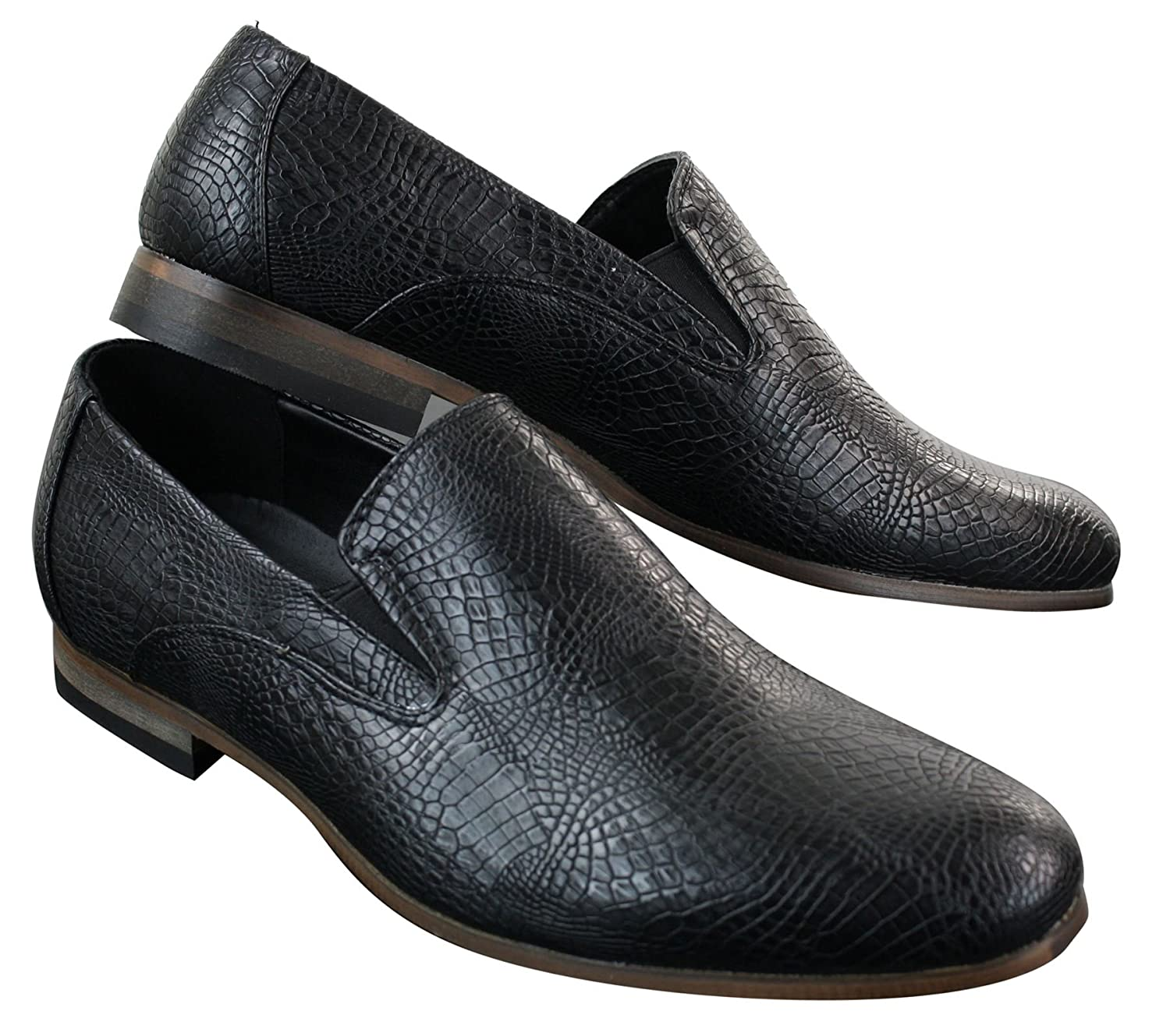 091f977c22eeeb Mens Slip On Snake Crocodile Leather Skin PU Black Shoes Smart Casual   Amazon.co.uk  Shoes   Bags