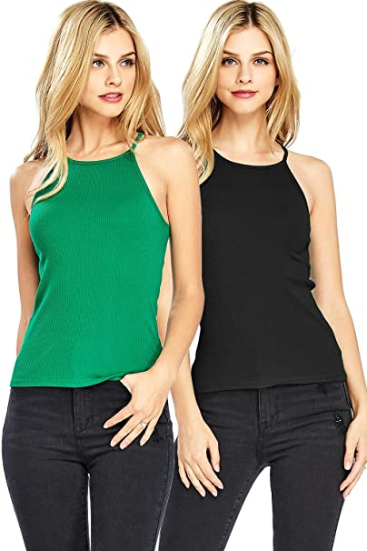 Ambiance Apparel Women S High Neckline Ribbed Tank Top 2 Pk At