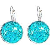 Créative Perles - Boucles d'oreilles Cabochon rond fleur strass - Turquoise