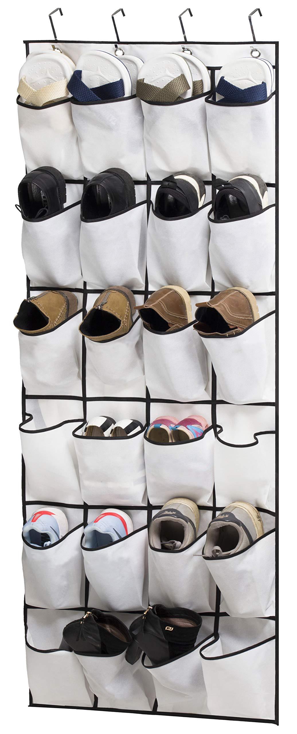 KIMBORA Over Door Shoe Organizer Hanging Shoes Storage 24 Pockets,White