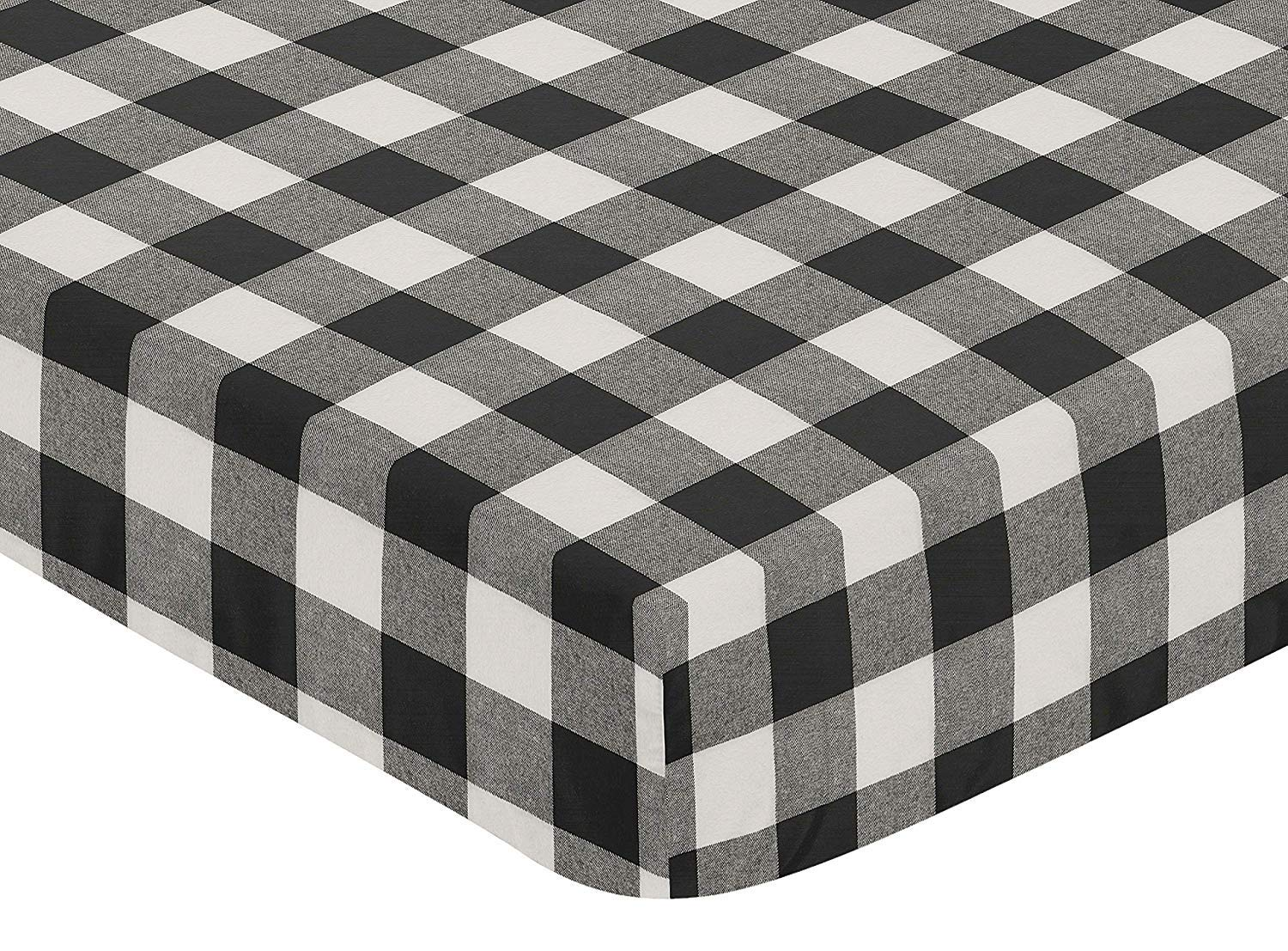 "Gingham Buffalo Check Fitted Bottom Sheet Twin Extra Long 1800 Ultra-Soft Brushed Microfiber 16"" Deep Pocket Bedsheet 2 Pack, Black and White, Twin XL"