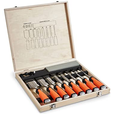 VonHaus 10 pc Premium Craftsman Woodworking Wood Chisel Set with Honing Guide, Sharpening Stone and Wooden Storage Case