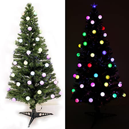 Fibre Optic Christmas Tree With Baubles.Werchristmas 6 Ft Pre Lit Fibre Optic Christmas Tree With 40 Slow Flash Led Baubles And Star Topper