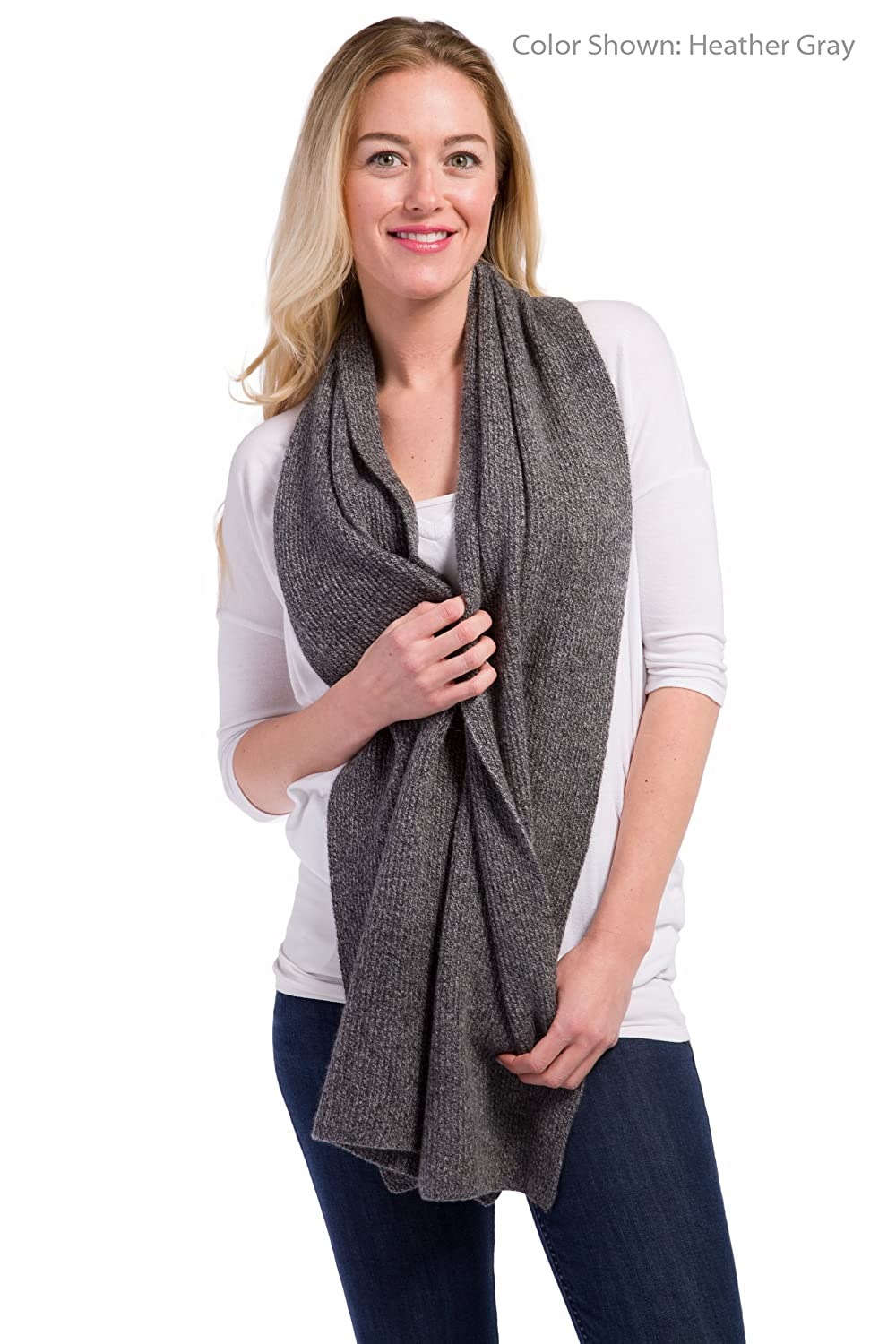 Fishers Finery Newport Collection Cashmere Knitted Ribbed Scarf