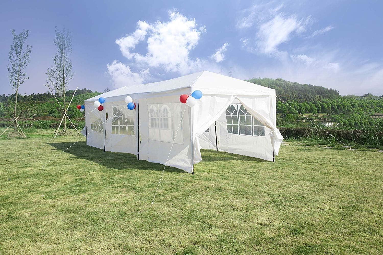 Gazebo con 8 Pannelli Laterali Protezione UV 3 x 9 m Tenda da Festa Gutgojo Tenda da Giardino per Matrimoni