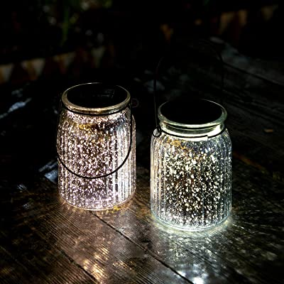voona Hanging Solar Garden Lights Outdoor Patio Table Lamps Portable Mercury Glass Jars Solar Powered for Patio Lawn Backyard Landscaping Decor (Silver) : Garden & Outdoor
