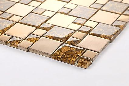 Fantasia cm vetro e acciaio inox mosaico piastrelle