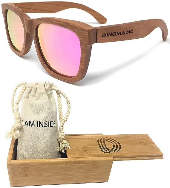 DINOMADic | Madera de Cereza Gafas de Sol Polarizadas Unisexo con Estuche de Bambú (Cladel