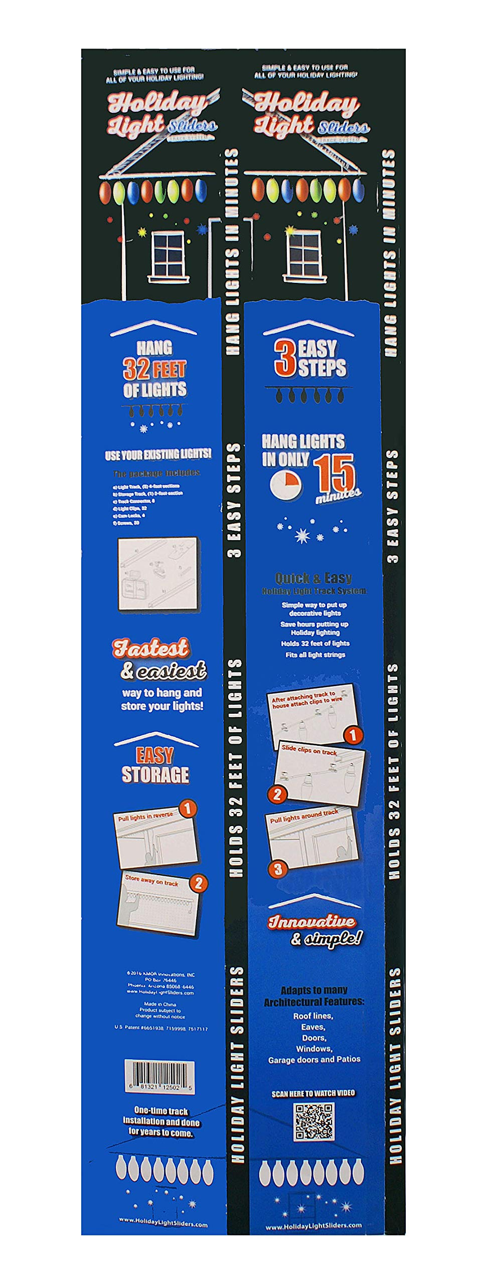 Holiday Light Sliders, A Light Hanging System That Provides a Quicker, Easier, More Professional Holiday Light Display in Minutes. Just Like a Curtain Rod for Exterior Holiday Lights. 2 Track Kits