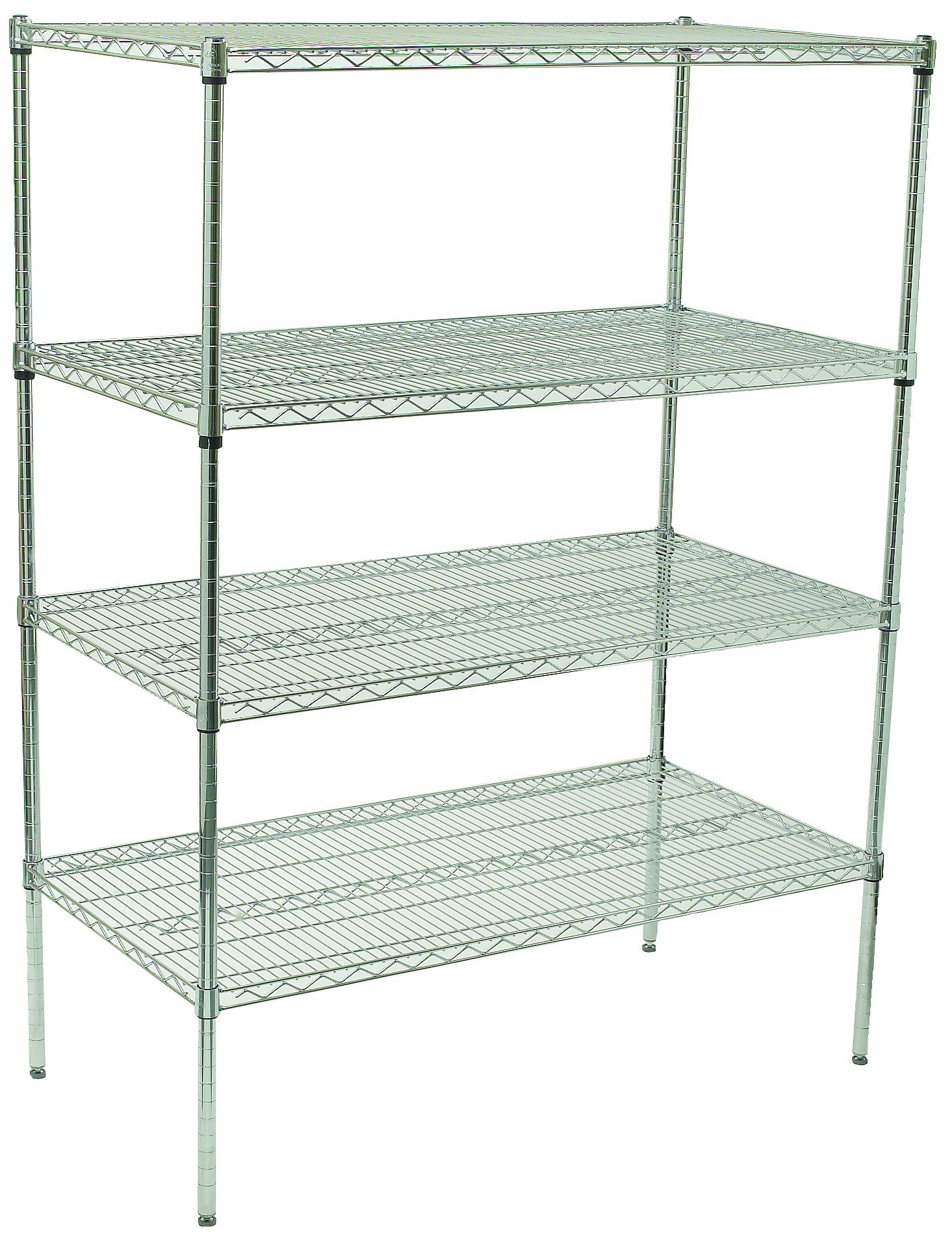 Winco VCS-1848 4-Tier Wire Shelving Set, Chrome Plated, 18'' X 48'' X 72''
