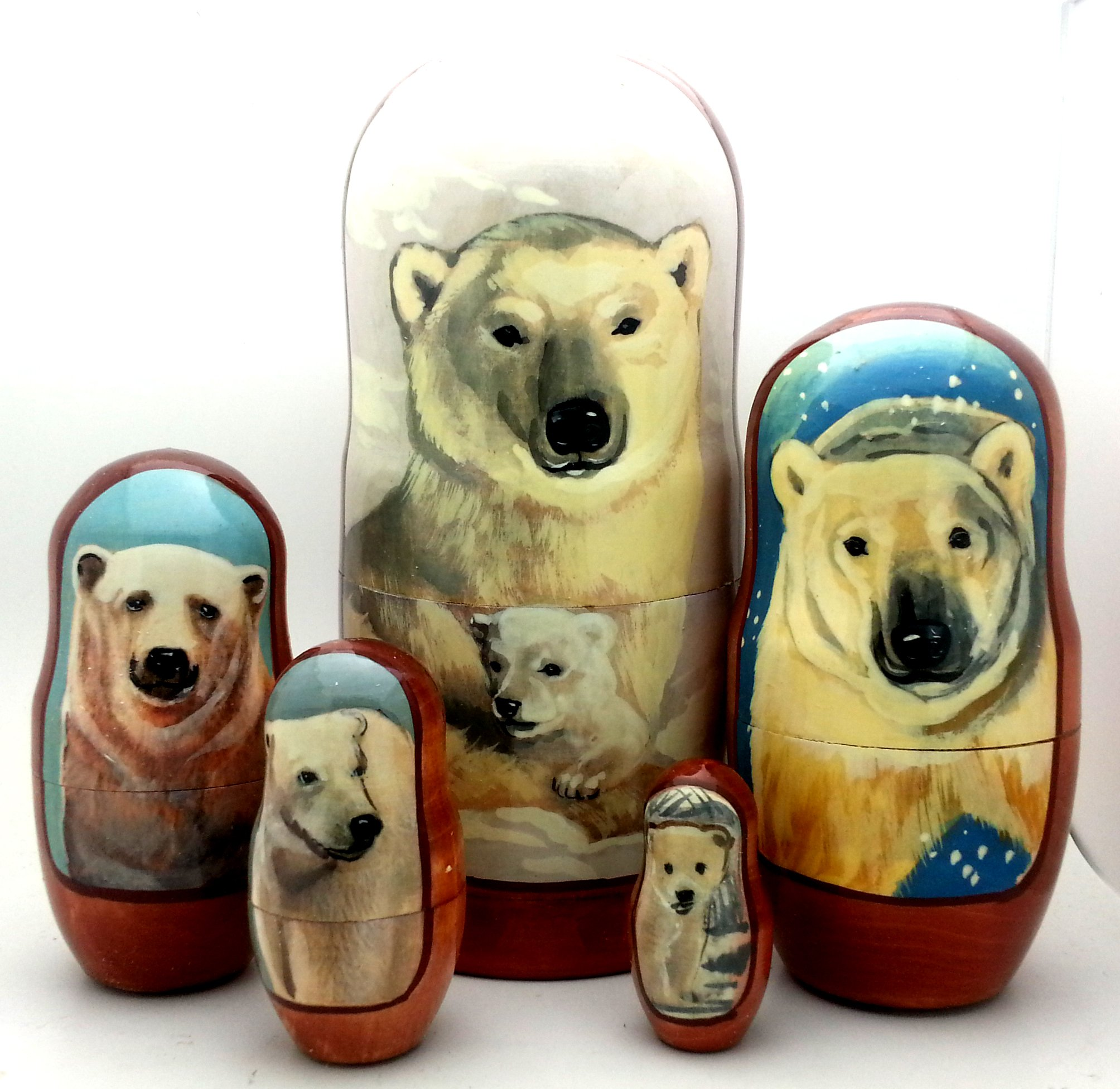 Polar Bear Russian Hand Carved Hand Painted Nesting 5 piece DOLL Set / 7'' tall