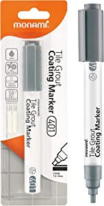MONAMI Tile Grout Coating Marker 401, Chisel Tip (1.5~4mm), Repair Marker with Replaceable Nib Tips to Restore Grout Lines, Grey, 1 Marker + 2 Extra Tips