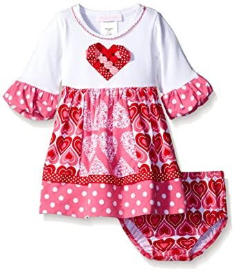 Amazon Bonnie Baby Baby Girls Knit Heart Appliqued Dress With