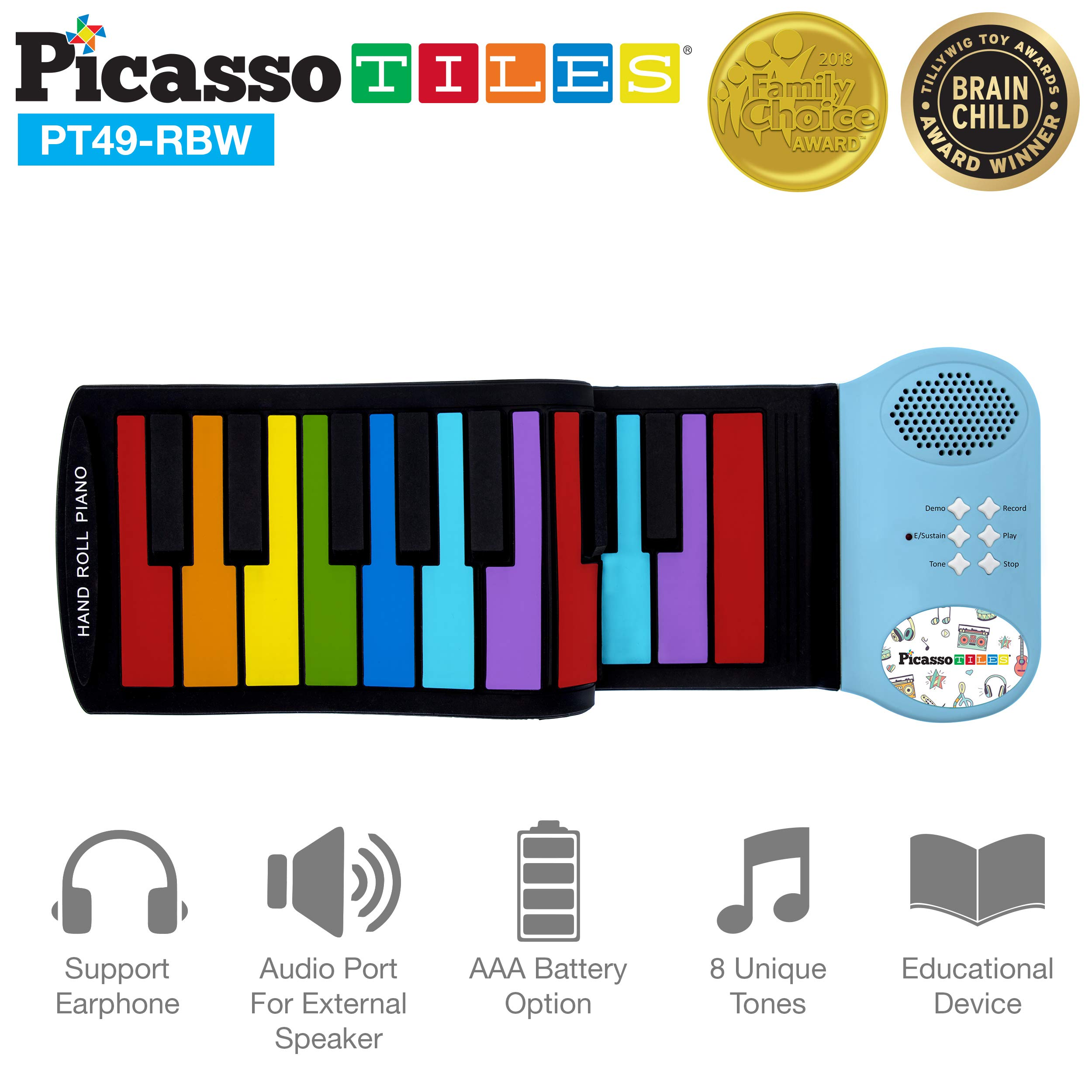 PicassoTiles PT49 Kid's 49-Key Flexible Roll-Up Educational Electronic Digital Music Piano Keyboard w/ Recording Feature, 8 Different Tones, 6 Educational Demo Songs & Build-in Speaker - Rainbow by PicassoTiles