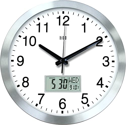 hito 12 Inches Silent Non-Ticking Modern Wall Clock w Aluminum Frame, Acrylic Front Cover, Date, Indoor Temperature, Week Silver w LCD
