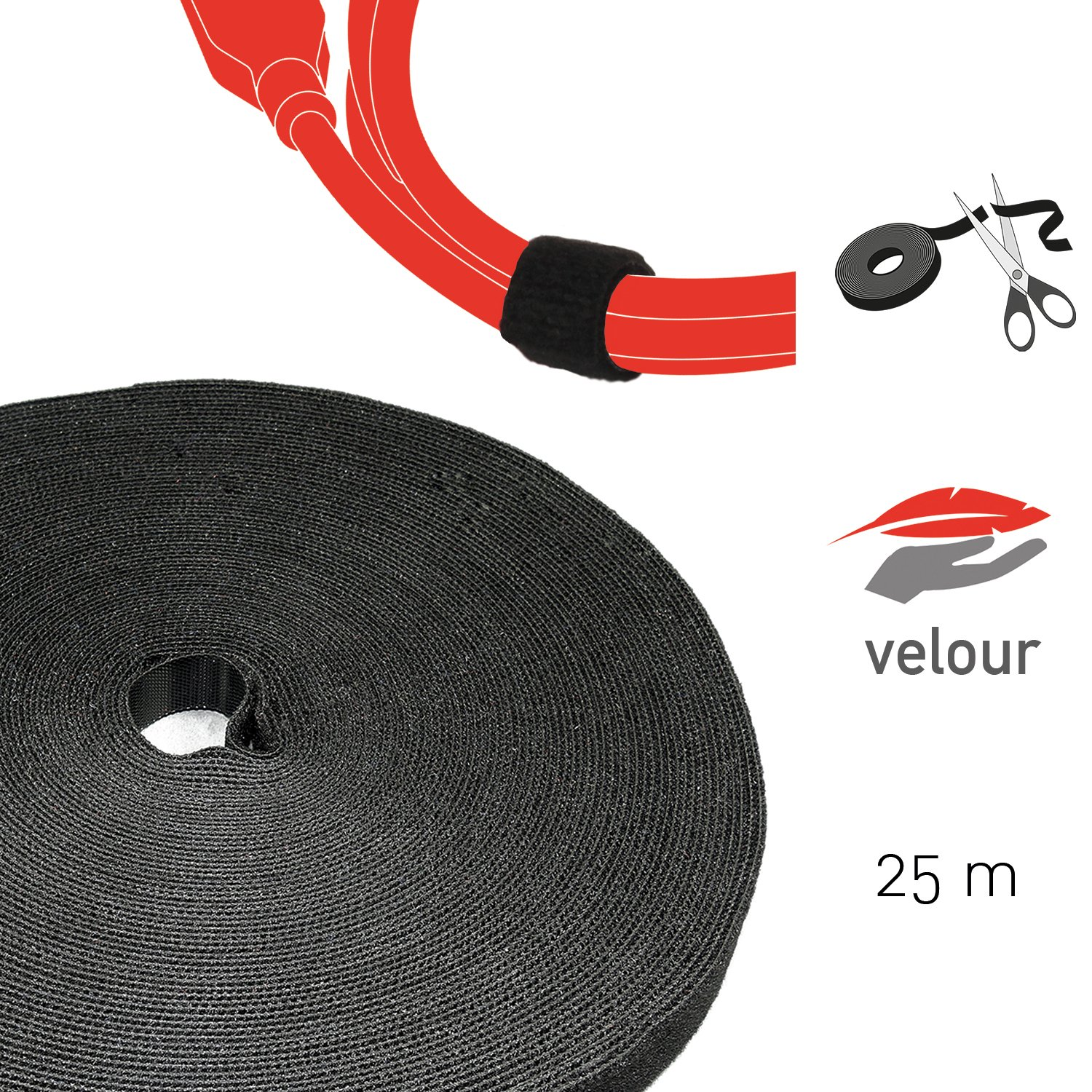 Label-the-cable Klettbandrolle doppelseitig (Haken & Flausch ...