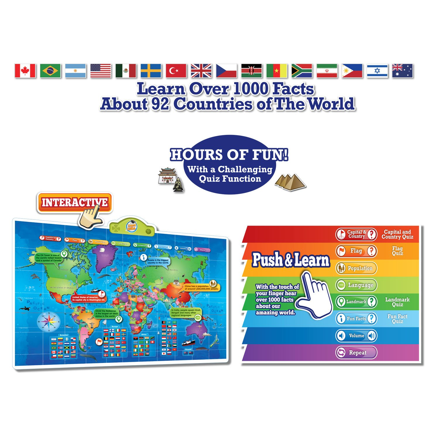amazoncom kids interactive talking world map touch activated geography for kids push to talk map learn over 1000 facts and quizzes about 92 countries