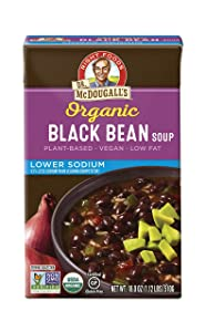 Dr. McDougall's Right Foods Organic Lower Sodium Soup, Black Bean, 18-Ounce (Pack of 6)