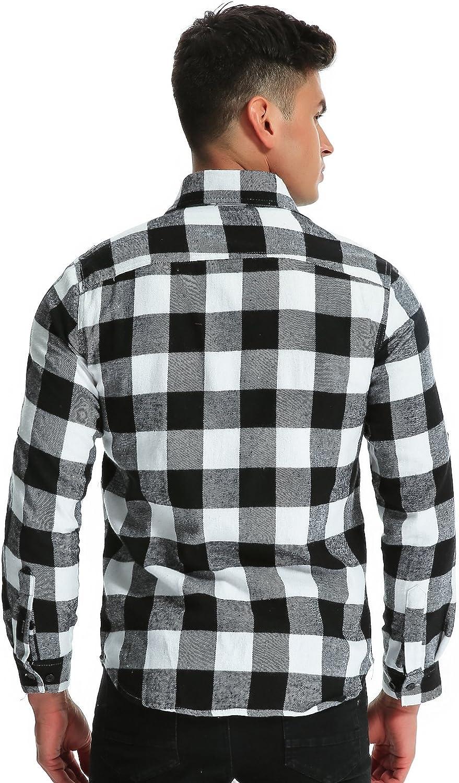 MODCHOK Hombre Camisa a Cuadros Casual de Franela Manga Larga Shirt Algod/¨/®n Slim Fit?