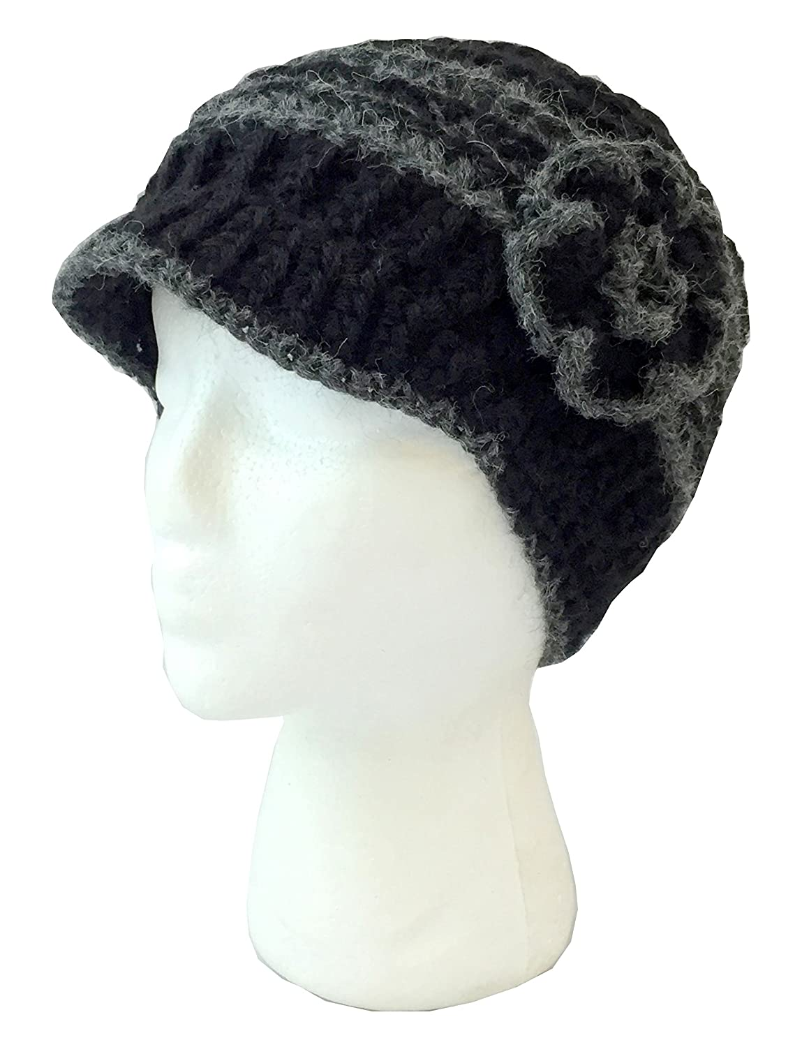 5dff4d19 Amazon.com: Alpaca Brimmed Hat with Flower - Hand Knit in Bozeman, Montana-  6 Color Options by Alpaca Of Montana: Sports & Outdoors