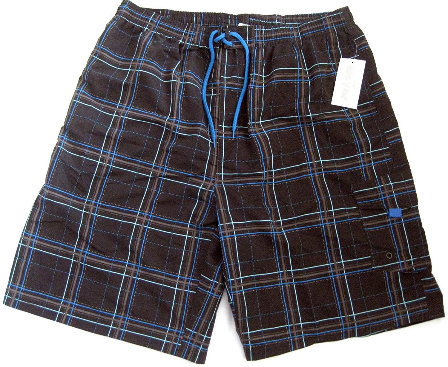 Elemar Men's Swimming Shorts Chequered espresso / Turquoise, 5 M