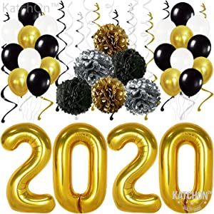 Gold 2020 Balloons Decorations Banner – Pack of 31 | Black Gold Silver Hanging Party Swirls, Tissue Paper Pompoms and Latex Balloon | Graduations Party Supplies Kit, New Years Eve Party Supplies 2020