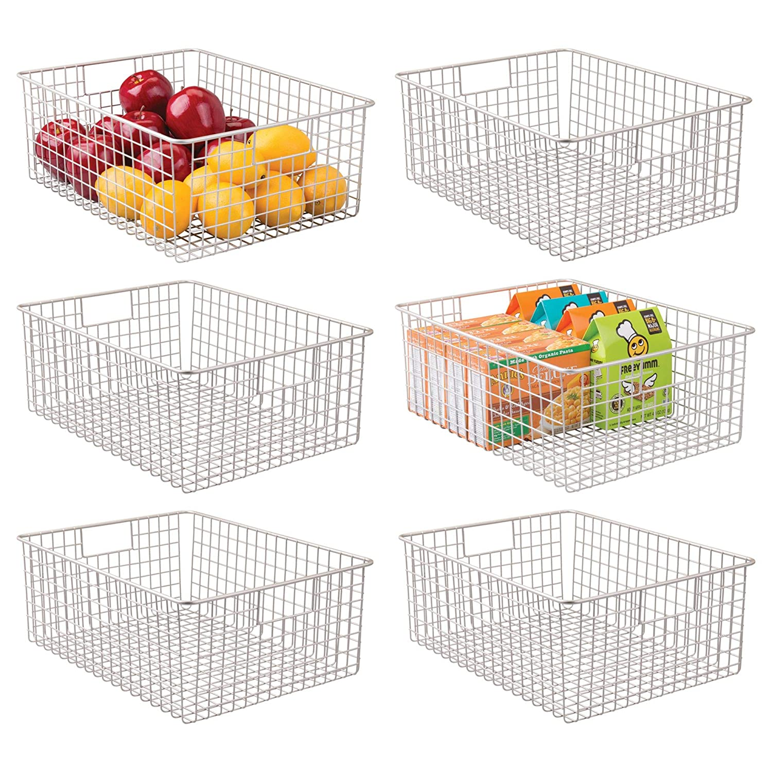 mDesign Farmhouse Decor Metal Wire Food Organizer Storage Bin Baskets with Handles for Kitchen Cabinets, Pantry, Bathroom, Laundry Room, Closets, Garage - 6 Pack - Satin