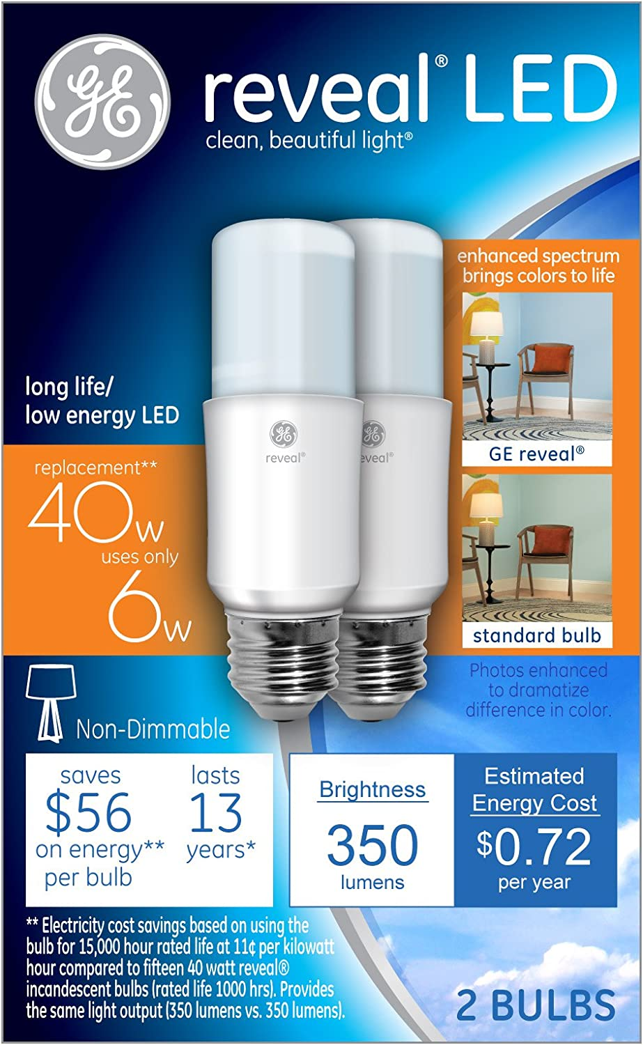 GE Lighting 36455 6 Watts Reveal LED Bright Stik Light Bulb with Medium Base, 2 pack