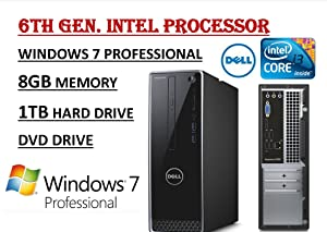 Dell Inspiron 3650 High Performance Desktop PC, Intel Core i3-6100 Processor 3.70 GHz, 8GB RAM, 1TB 7200RPM HDD, DVD +/- RW, WIFI, Bluetooth, HDMI, VGA, Windows 7 / 10 Professional