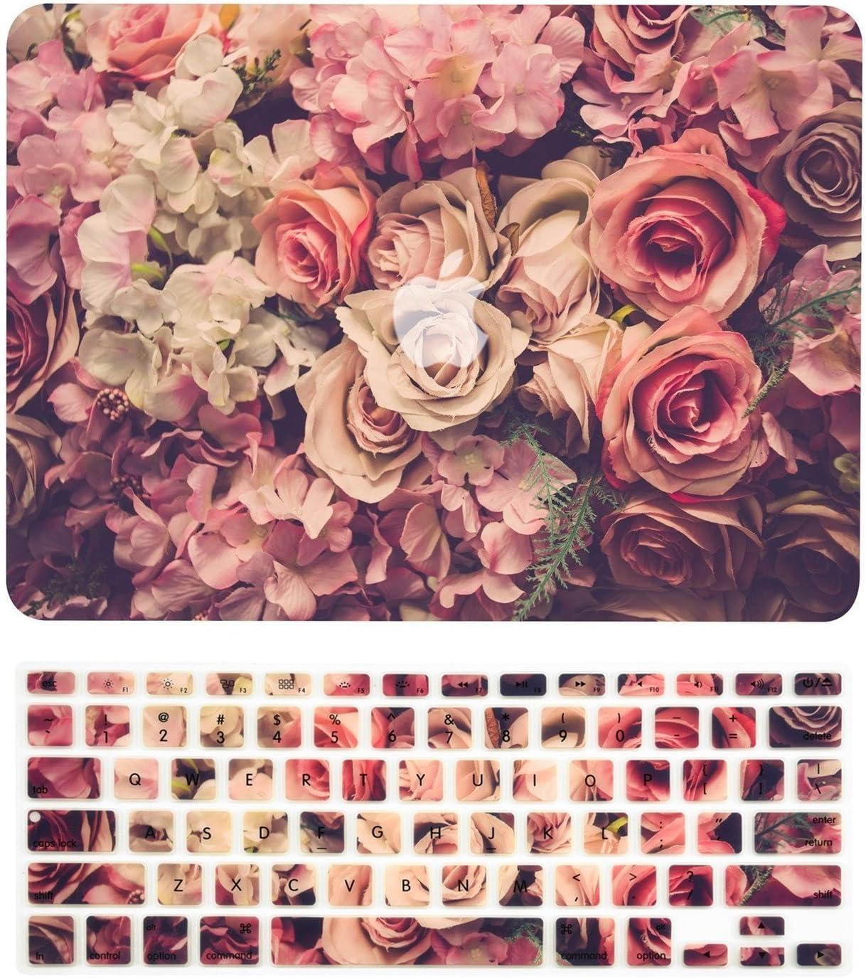 "TOP CASE - 2 in 1 Signature Bundle Floral Pattern Matte Hard Case + Keyboard Cover Compatible MacBook Air 13"" (13"" Diagonally) A1369 / A1466 (Older Version, Release 2010-2017) - Lavish Floral"