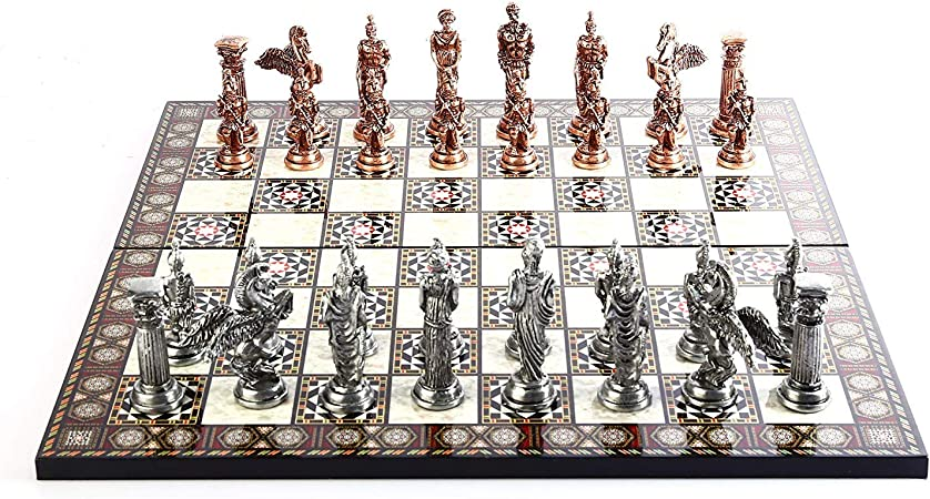 GiftHome - Juego de ajedrez de Metal con Figuras de Cobre Antiguo y Pegaso mitológico para Adultos, Hecho a Mano y diseño de Mosaico, Tablero de ajedrez de Madera, King 3.75 Pulgadas: