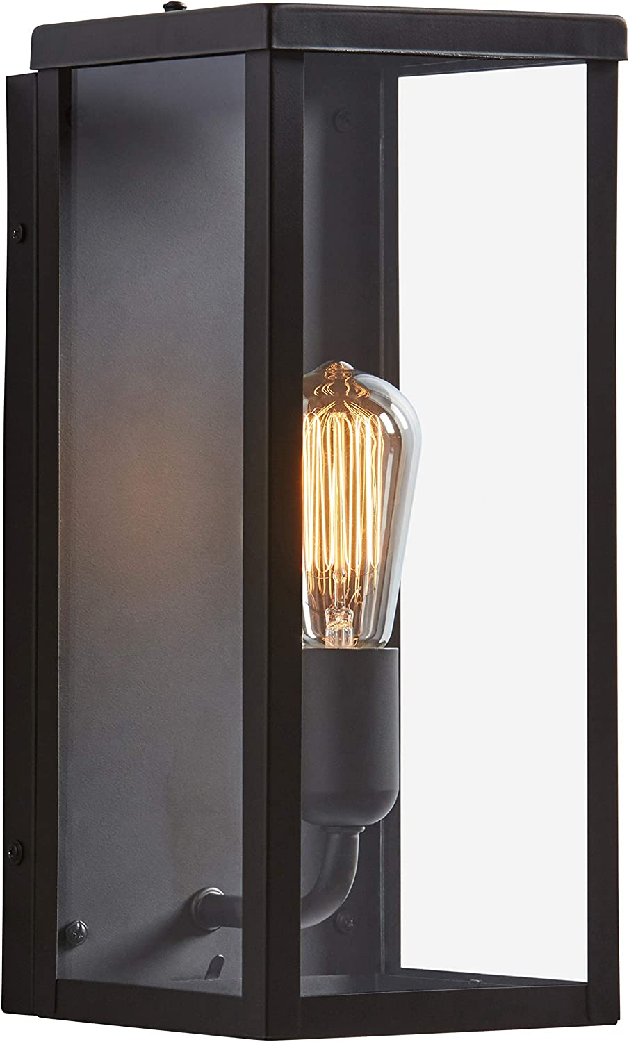 Amazon Brand Rivet Mid Century Clear Glass And Metal Wall Sconce With Bulb 14 H Bronze Amazon Com