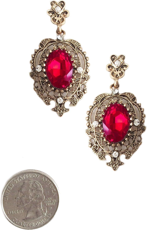 Pendientes colgantes de estilo vintage envejecido, color rojo rubí con diamantes de imitación en tono dorado
