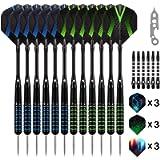 Grebarley Darts Steel Tip Set Professional for Dartboard 4 Sets 54 Pcs 20 22 Grams with 9 Extra Flights Tool Kit O Rings…