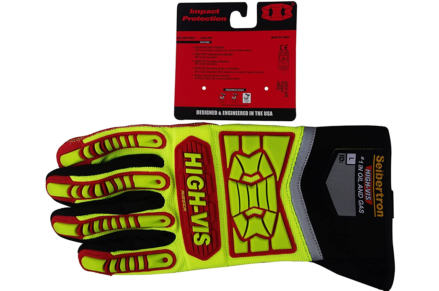 Seibertron HIGH-VIS HRIG Anti Impact Work Gloves Hi-Vis Oil and Gas Water Resistant Safety Heavy Duty Utility Mechanic Rigger Glove with TPR Protection ...