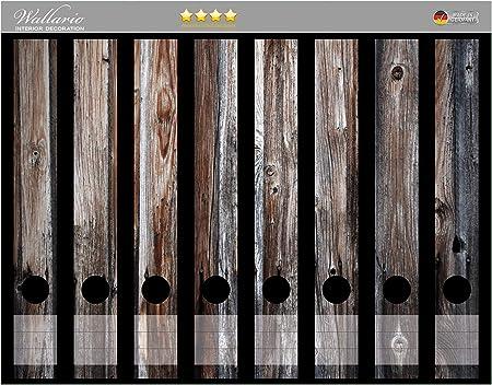 Holzpaneelen in grau Wallario Ordnerrücken selbstklebend 8 schmale Ordner