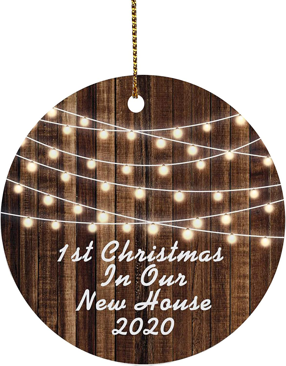 AREDM Our First Christmas in Our New Home 2020 Ceramic Round Decoration Ornament Keepsake Gift (Brown Two-Sides)
