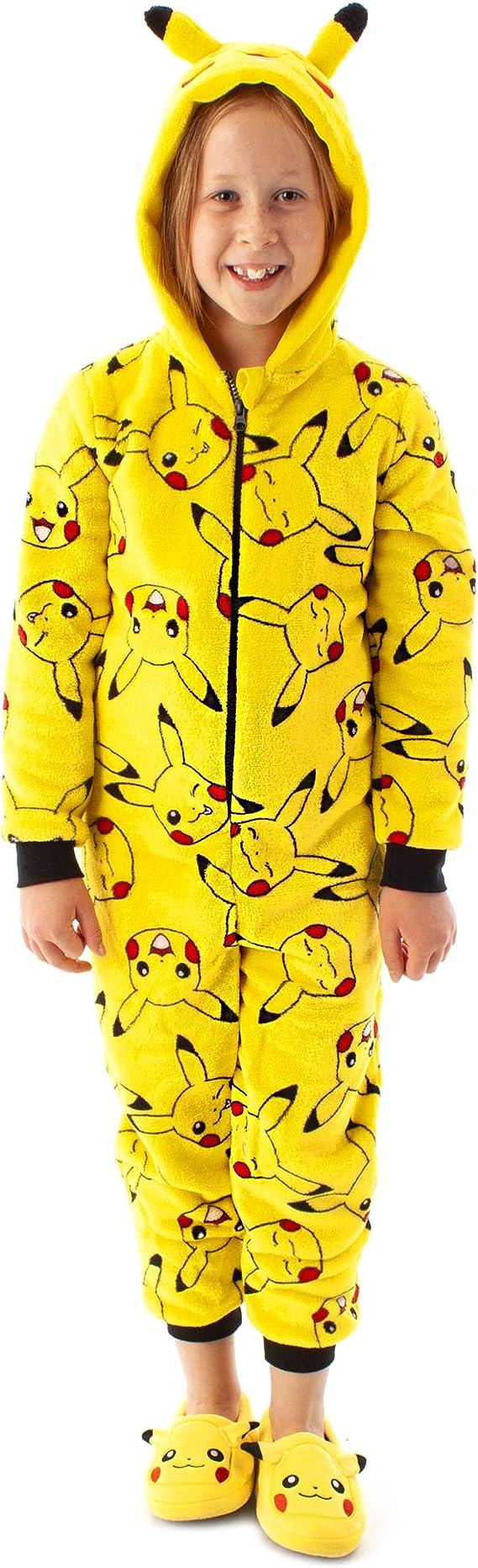 Pokèmon Traje los oídos Pikachu Amarillo 3D Onesie de los niños del sueño
