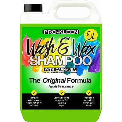 Pro-Kleen xp110 Wash and Carnauba Wax Shampoo 5L (Green-Apple Fragrance): Automotive